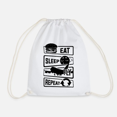 Airman Eat Sleep Fly Repeat - Aircraft Pilot Airman Flight - Drawstring Bag