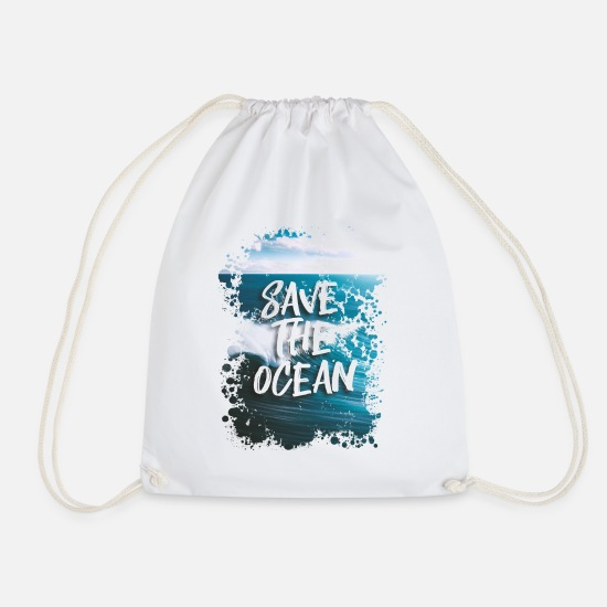 Sea Bags & Backpacks - SAVE THE OCEAN - Drawstring Bag white