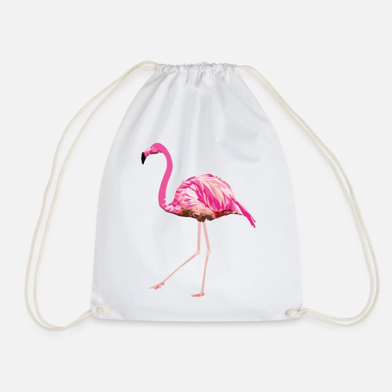 Beak Bags & Backpacks - Flamingo pink pink bird summer water bird poly - Drawstring Bag white