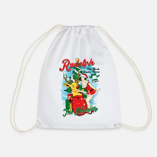 Snowman Bags & Backpacks - NAUGHTY RUDOLPH - Reindeer Rudolph with pin-up - Drawstring Bag white