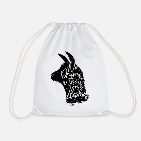 Officialbrands Bags & Backpacks - Animal Planet No Drama Without Llama Quote - Drawstring Bag white
