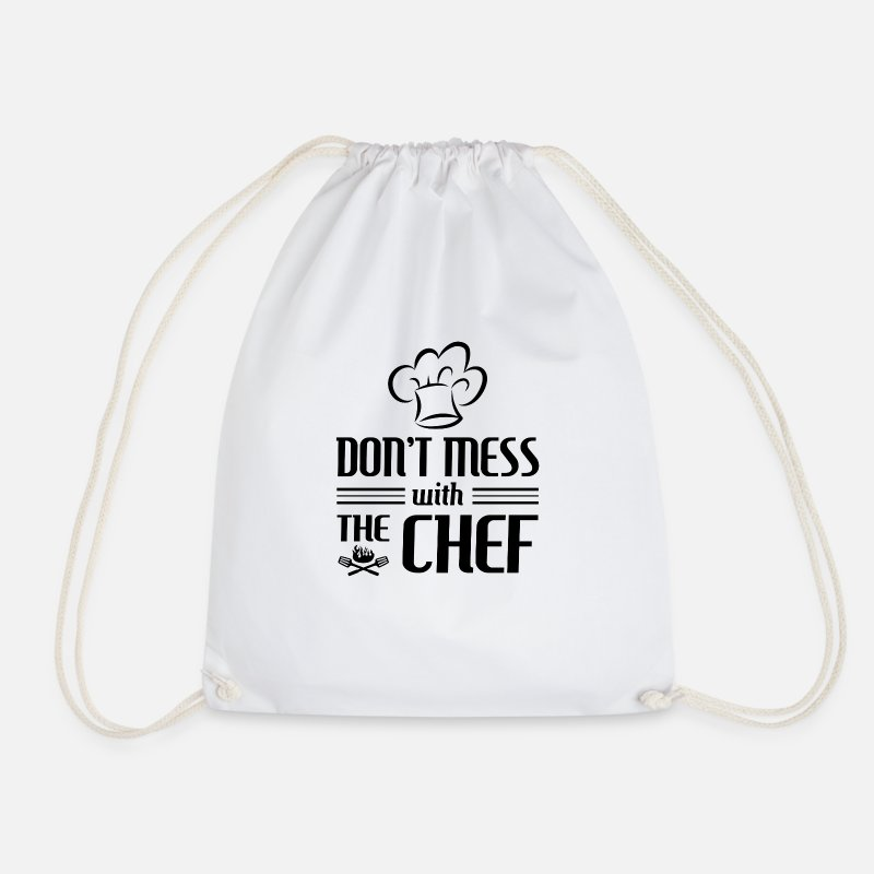 Baking Bags & Backpacks - Don't mess with the Chef - cooking gift - Drawstring Bag white
