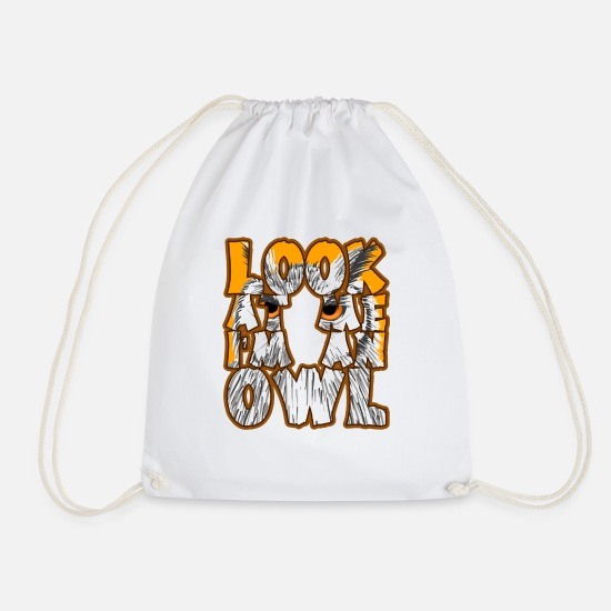 Proud Bags & Backpacks - Look At Me I'm An Owl Nocturnal Birds Of Prey - Drawstring Bag white
