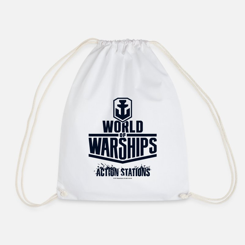 Clan Sacs et sacs à dos - World of Warships Black Logo Collection - Gym Bag - Sac à dos cordon blanc
