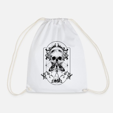 Owl Moth skull Skull Gothic ornaments - Drawstring Bag
