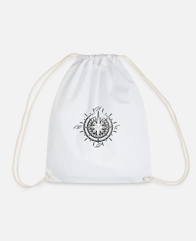 Away Bags & Backpacks - Nautical compass - Drawstring Bag white