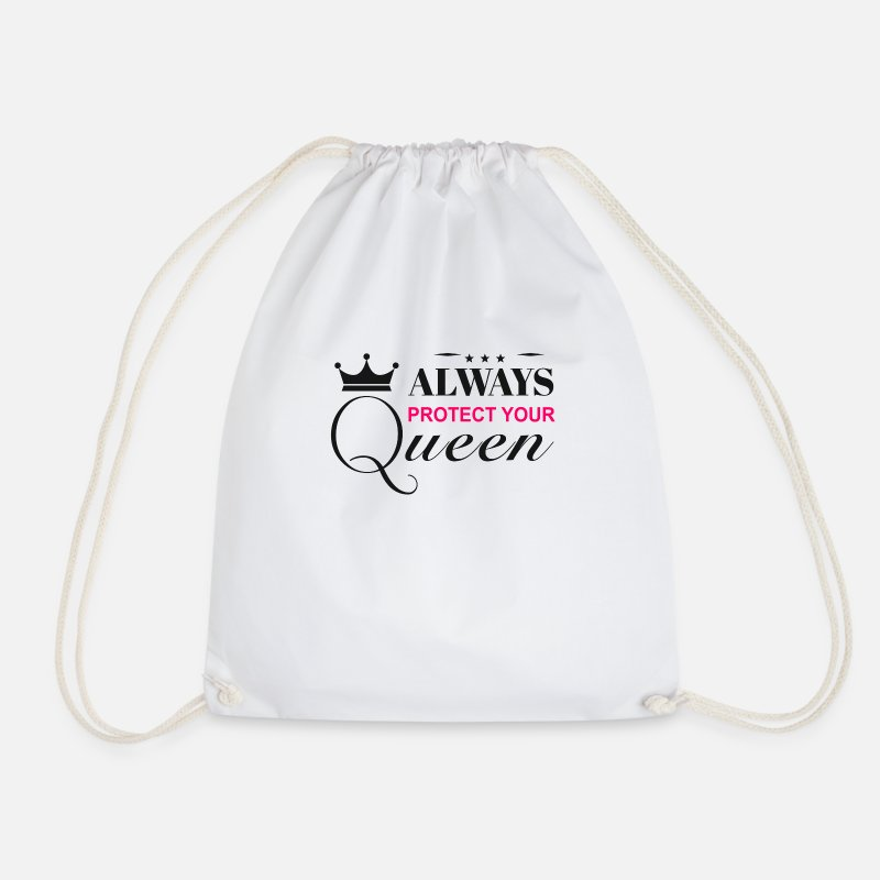 Board Bags & Backpacks - Always protect your queen - Drawstring Bag white