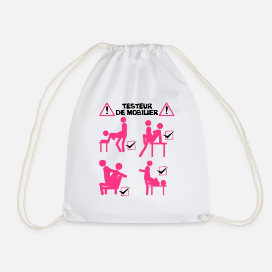 Love Bags & Backpacks - furniture tester sex position fuck amo - Drawstring Bag white
