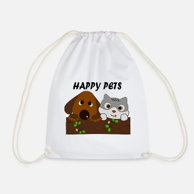 Happy Dog and cat love happy pets - Drawstring Bag
