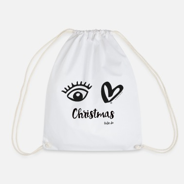 Eye Love Christmas Black - Drawstring Bag