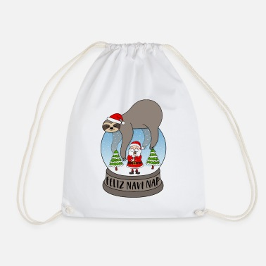 Snow Sloth snow globe saying Feliz Navi Nap Santa - Drawstring Bag
