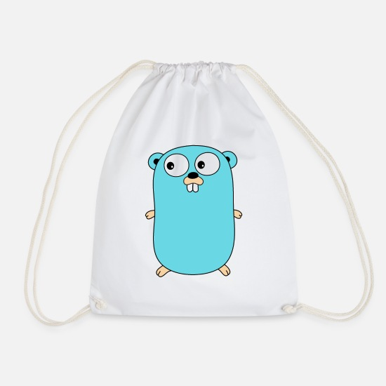 Web Bags & Backpacks - Golang - Gopher - Drawstring Bag white