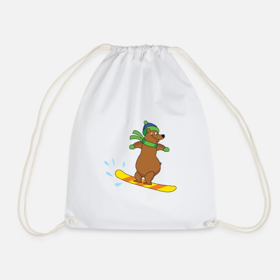 Gift Idea Bags & Backpacks - brown bear - Drawstring Bag white