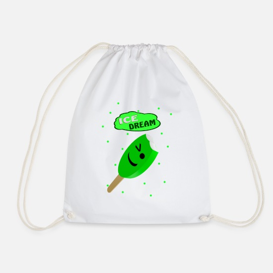 Symbol  Bags & Backpacks - Popsicles ice green - Drawstring Bag white
