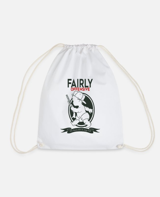 Silly Bags & Backpacks - fairly offensive - Drawstring Bag white
