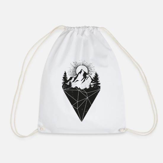 Hipster Bags & Backpacks - mountain sun grunge - Drawstring Bag white