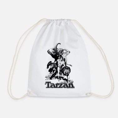 Tarzan with elephant, lion and apes - Drawstring Bag