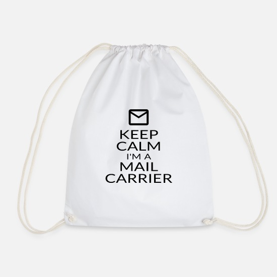 Postwoman Gifts Bags & Backpacks - Keep Calm I'm A Mail Carrier Mailwoman Postwoman - Drawstring Bag white