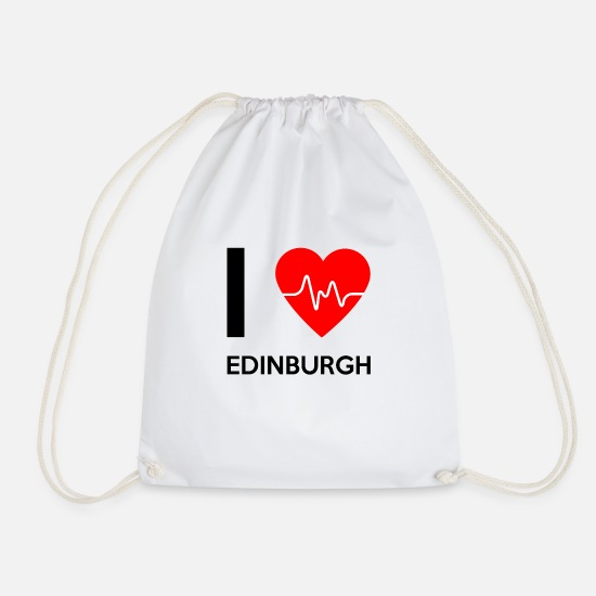 Edinburgh Bags & Backpacks - I Love Edinburgh - I love Edinburgh - Drawstring Bag white