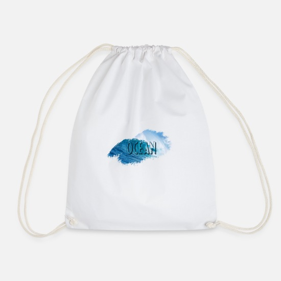 Paint Brush Bags & Backpacks - Ocean - Drawstring Bag white