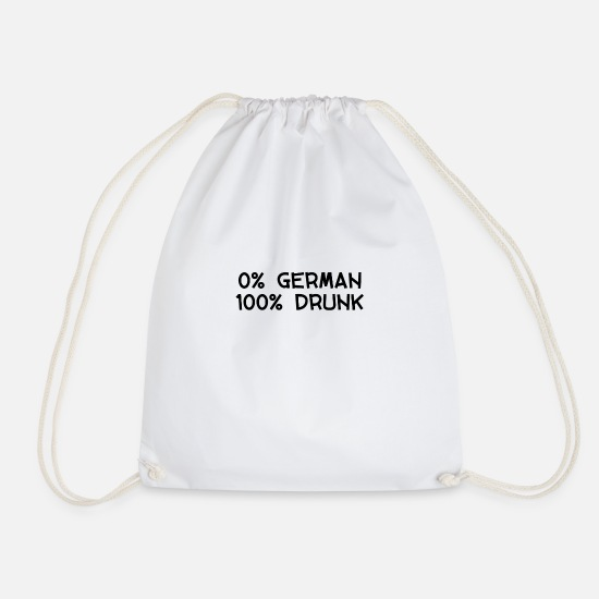New Bags & Backpacks - 0 PERCENT GERMAN 100 PERCENT DRUNK PARTY FUN - Drawstring Bag white