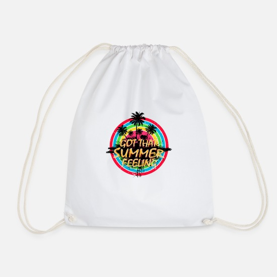 Typography Bags & Backpacks - Summer Feeling (Palms) 01 - Drawstring Bag white