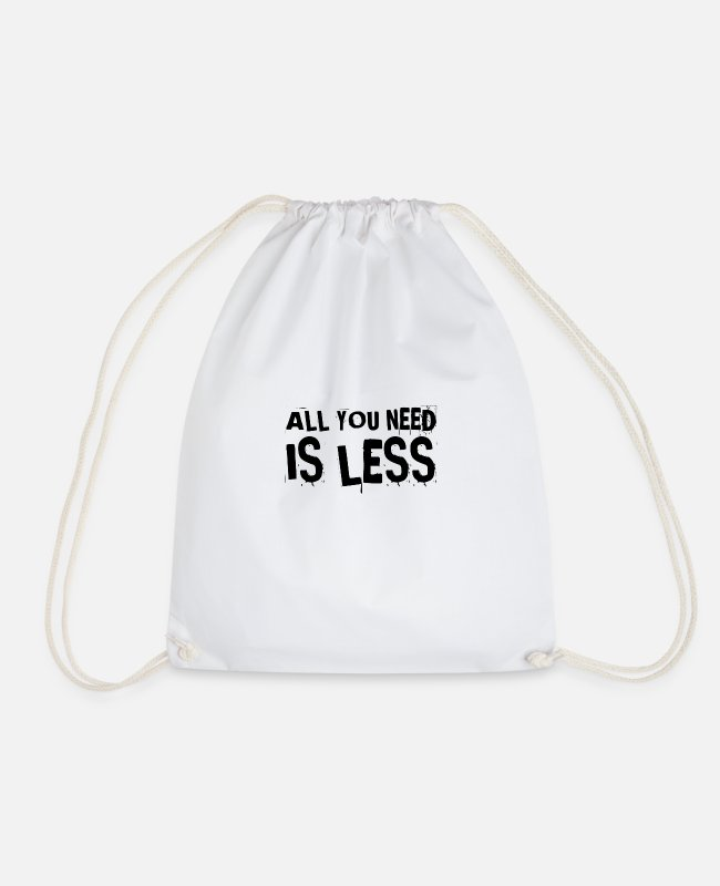 Consumption Bags & Backpacks - i am satisfied with little - Drawstring Bag white