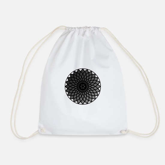 Gift Idea Bags & Backpacks - Geometric mandala flower - Drawstring Bag white