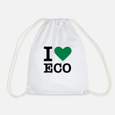 Green heart / I love Ecology - Drawstring Bag