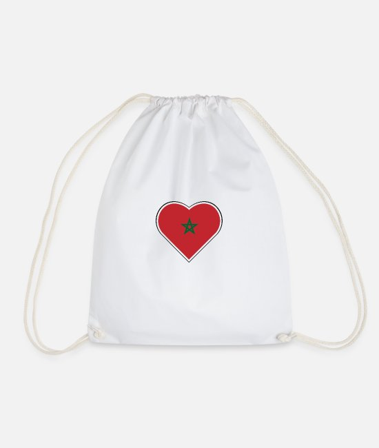 Proud Bags & Backpacks - My heart beats for Morocco - Drawstring Bag white