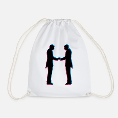3d 3d effect gay hands hold wedding couple lost - Drawstring Bag