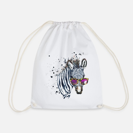 Officialbrands Bags & Backpacks - Animal Planet Zebra With Sunglasses - Drawstring Bag white