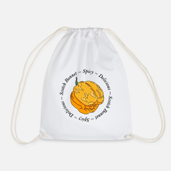 Chili Bags & Backpacks - Moa Scotch Bonnet Chilli Chilli Pepper Spicy Hot - Drawstring Bag white
