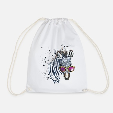 School Animal Planet Zebra With Sunglasses - Drawstring Bag