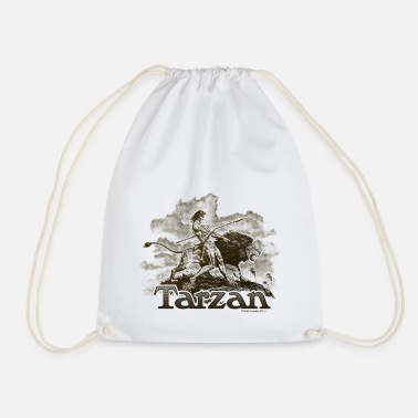 Tarzan and a wild lion - Drawstring Bag
