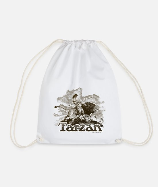 Friendship Bags & Backpacks - Tarzan and a wild lion - Drawstring Bag white