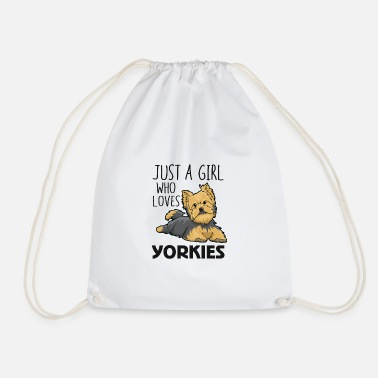 Just A Girl Who Loves Yorkies Funny Yorkshire Terr - Drawstring Bag