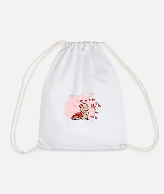 Christmas Bags & Backpacks - Caterpillar with hearts - Drawstring Bag white