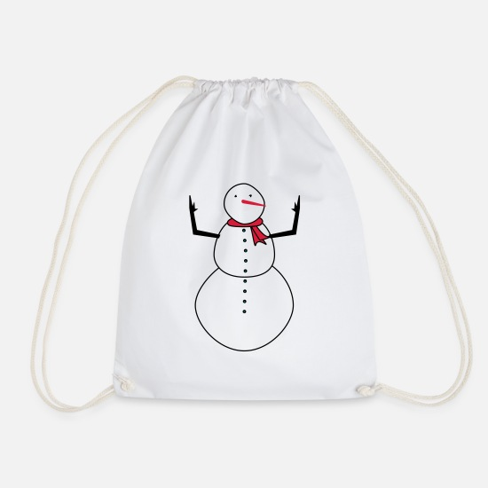 Snowflake Bags & Backpacks - Frosty Snowman - Drawstring Bag white