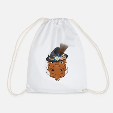 Bavarian Bavarian wild boar with traditional hat - Drawstring Bag