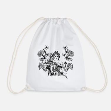 Vegan Diva - lady with flowers - Drawstring Bag
