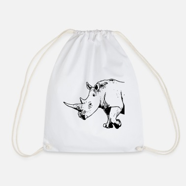 Rhino - rhinoceros - Drawstring Bag
