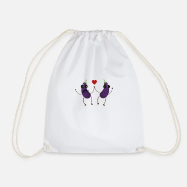 Love &amp Aubergines who love each other - Drawstring Bag