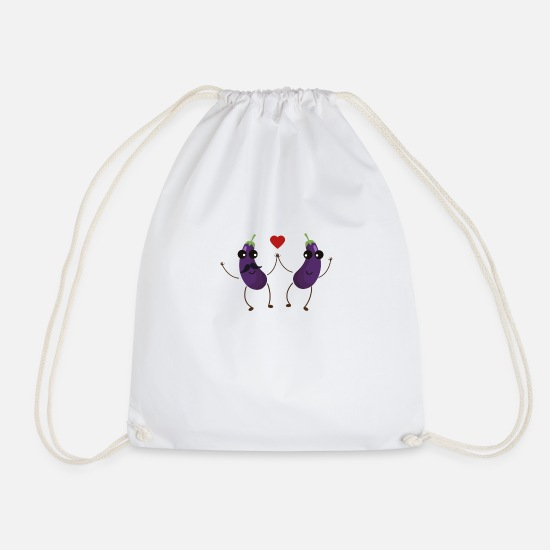 Pride Bags & Backpacks - Aubergines who love each other - Drawstring Bag white