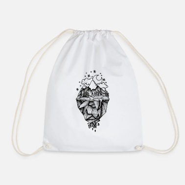 Black And White Collection Polygon Mountain - Drawstring Bag