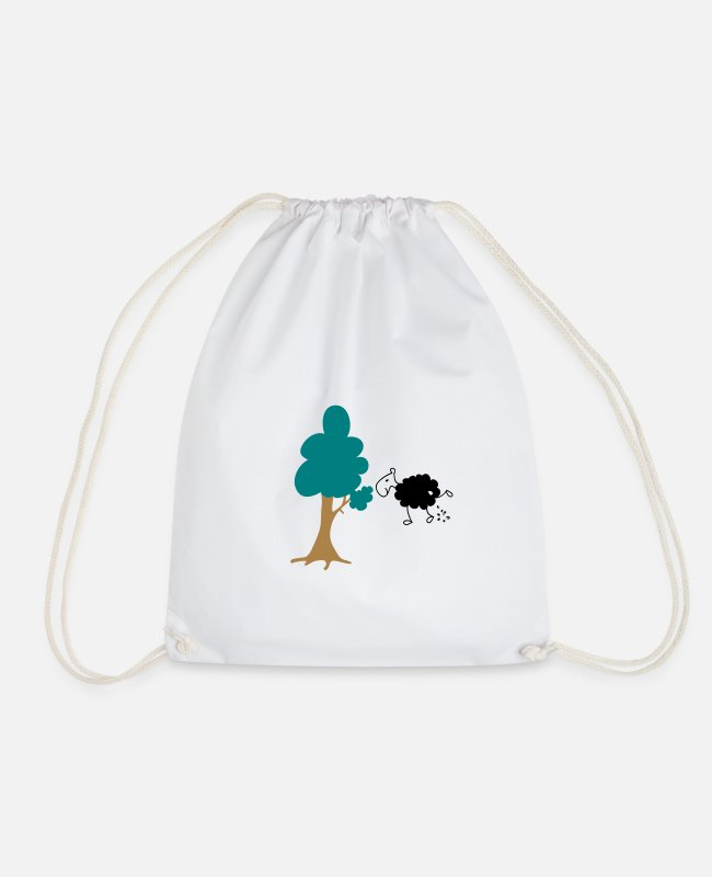Nature Bags & Backpacks - Schwarzes Schaf Pisser / Sheep in wolf's clothing - Drawstring Bag white