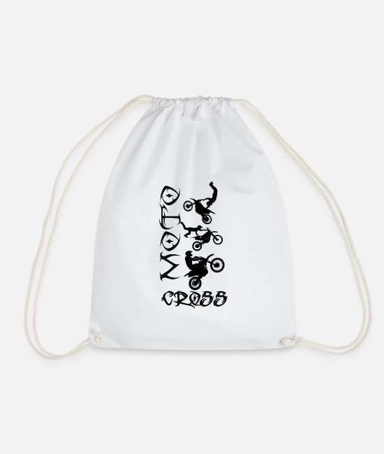 Sport Bags & Backpacks - Motocross, cross, motorcycle, motor sports, bikers, biking, - Drawstring Bag white