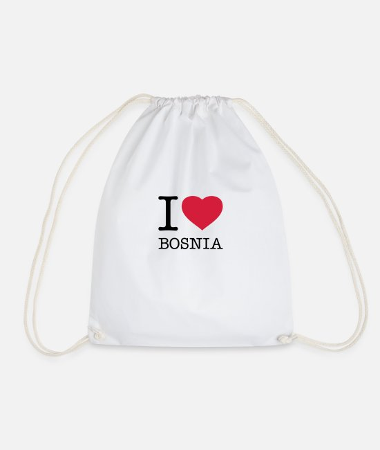 I Love Bags & Backpacks - I LOVE BOSNIA - Drawstring Bag white