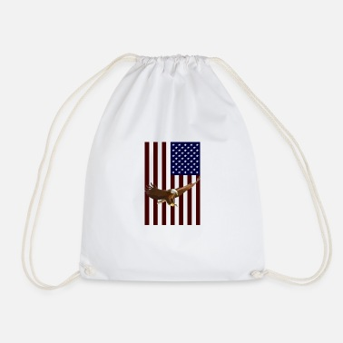 American American Flag with American Eagle - Drawstring Bag
