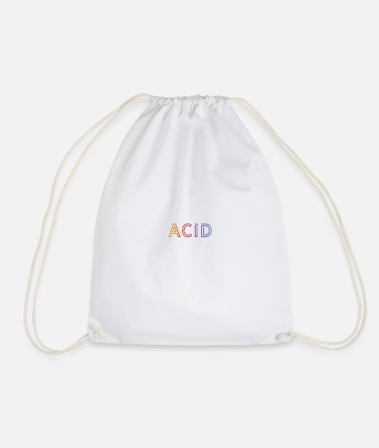 Acid Folk Bags & Backpacks - Acid Techno Rave Raven House Music Goa Festival - Drawstring Bag white
